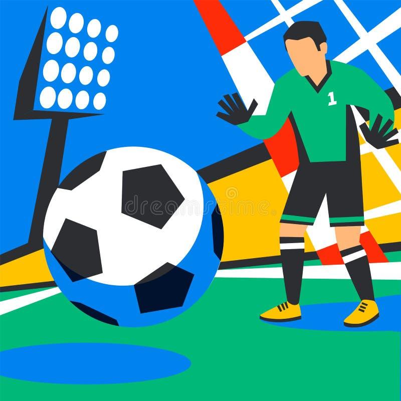 Målvakten försvarar mål Fotbollsspelare med bollen mot bakgrund av stadion Fotbollspelare i Ryssland straff stock illustrationer