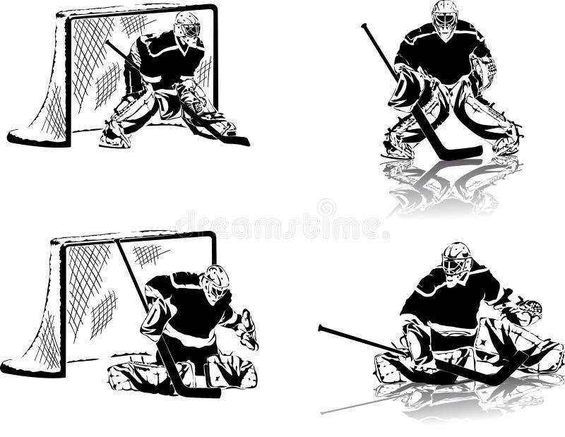 målvakthockeyis royaltyfri illustrationer