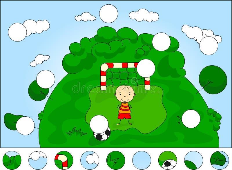 Målvaktpojkeanseende på porten med bollen Avsluta puzzen royaltyfri illustrationer