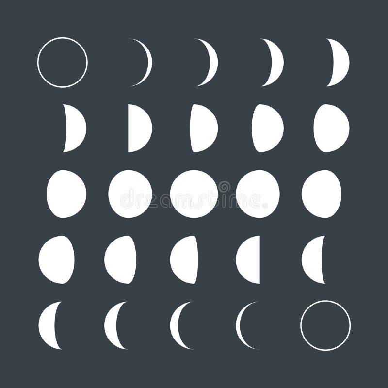 Mån- faser för plan stil stock illustrationer