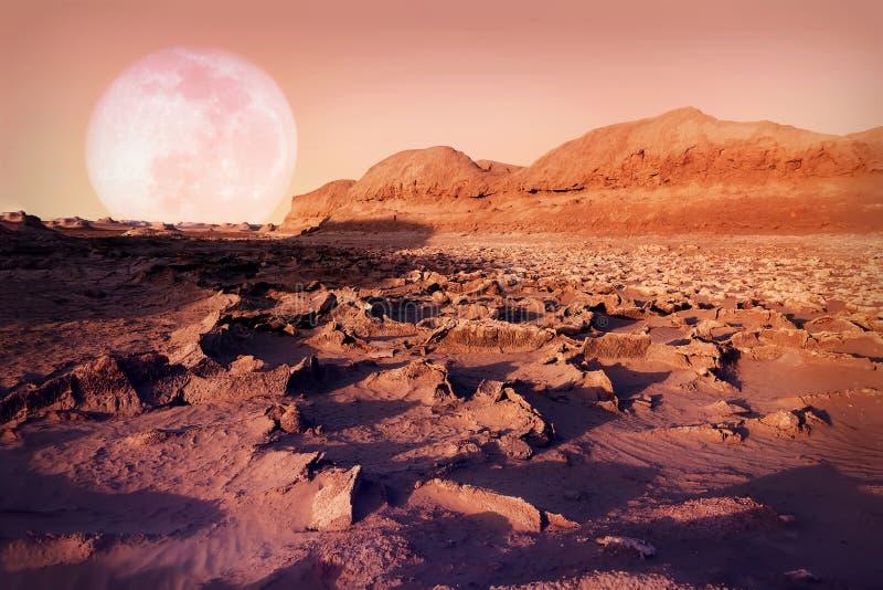 Mån- landskap i den Dasht-e Lut öknen Det varmmaste stället på jord iran persia royaltyfri bild