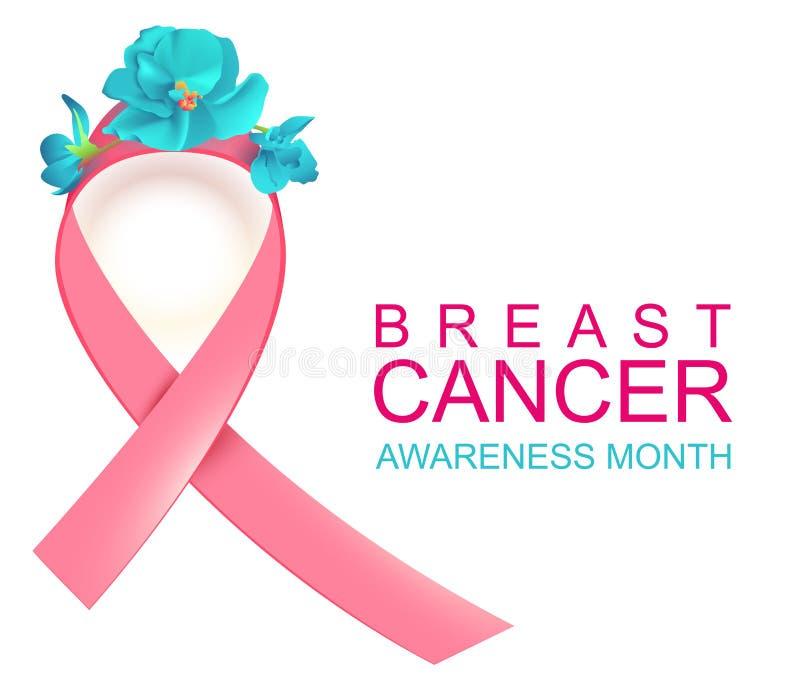 Månad för medvetenhet för bröstcancer för rosa bandsymbol nationell stock illustrationer