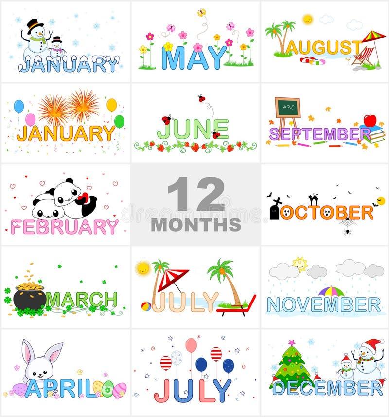 månader stock illustrationer