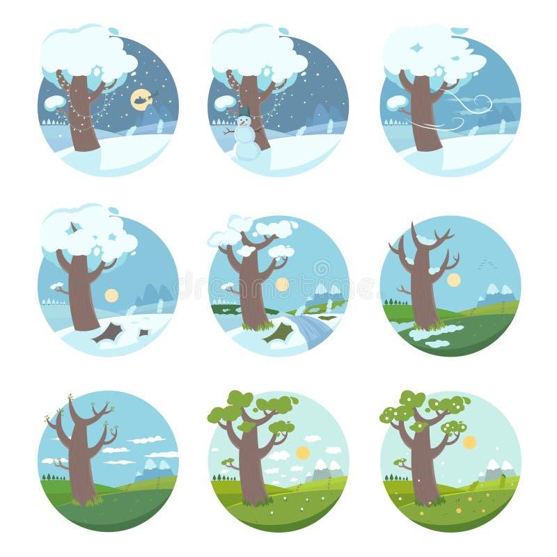 Månader av året vektor illustrationer
