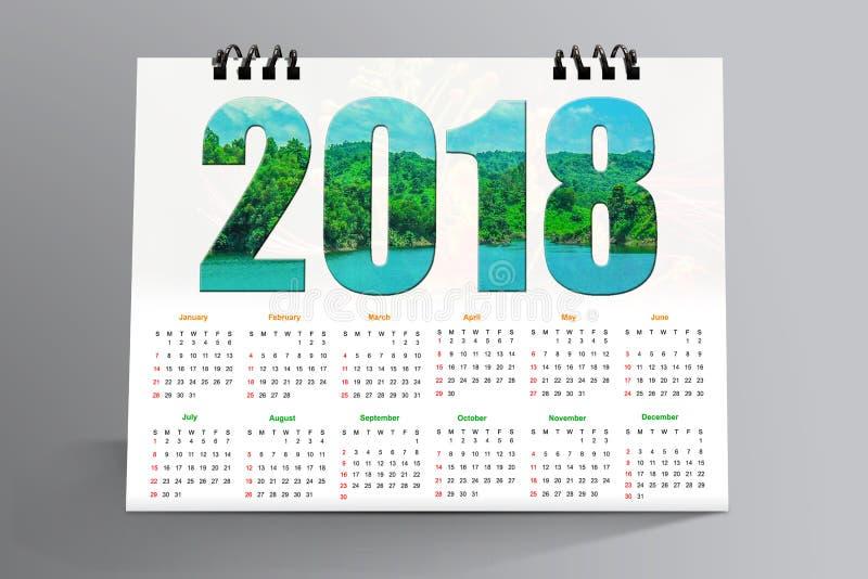 12 månader skrivbords- kalenderdesign 2018 royaltyfri fotografi