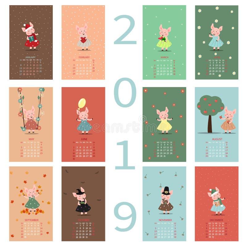 Månatlig idérik kalender 2019 med ett gulligt svin Symbol av året i den kinesiska kalendern Tecknad film isolerad vektorillustrat vektor illustrationer