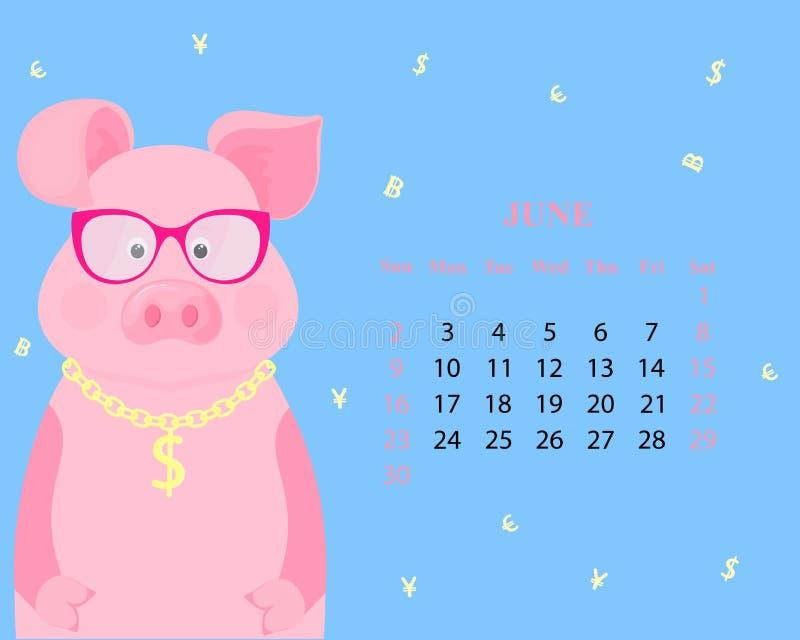 Månatlig kalender för Juni 2019 Gulligt svin i exponeringsglas med dollartecknet på en guld- kedja roligt piggy kinesiskt nytt år royaltyfri illustrationer