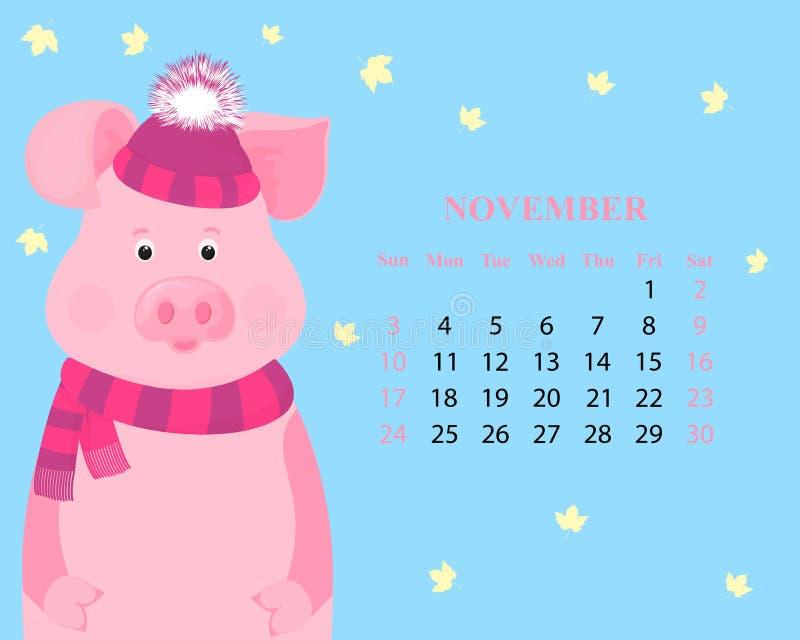 Månatlig kalender för November 2019 Gulligt svin i en randig hatt med en fluffig pompon och halsduk kinesiskt nytt år stock illustrationer