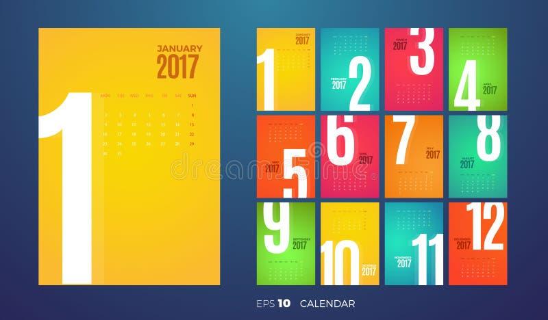 Månatlig kalender 2017 för vägg kantlagrar låter vara vektorn för oakbandmallen vektor illustrationer