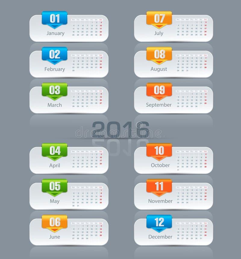 Månatlig kalender för vektormall för 2016 royaltyfri illustrationer
