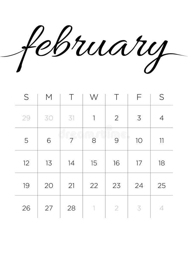 Månatlig kalender Februari 2017 vektor illustrationer