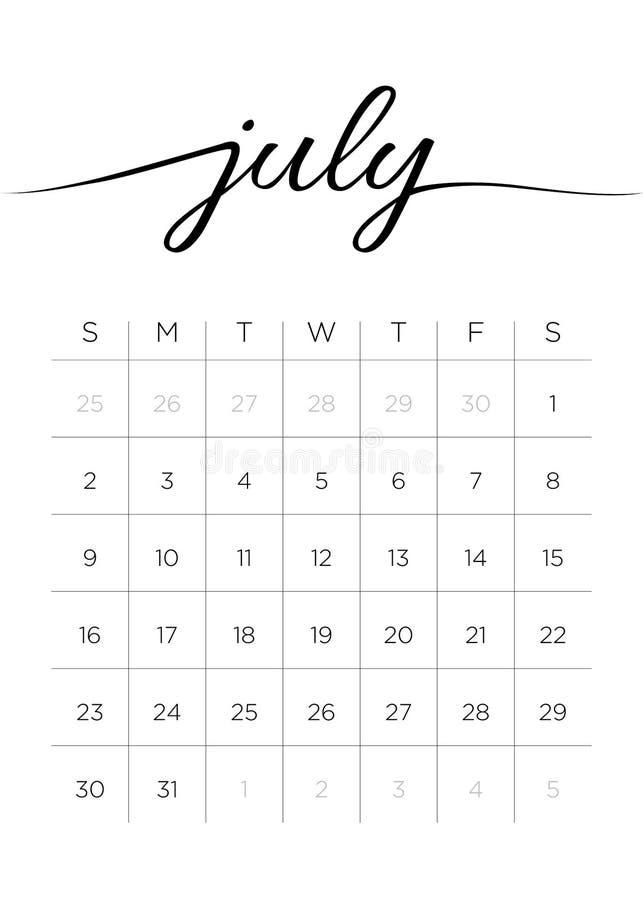 Månatlig kalender Juli 2017 vektor illustrationer