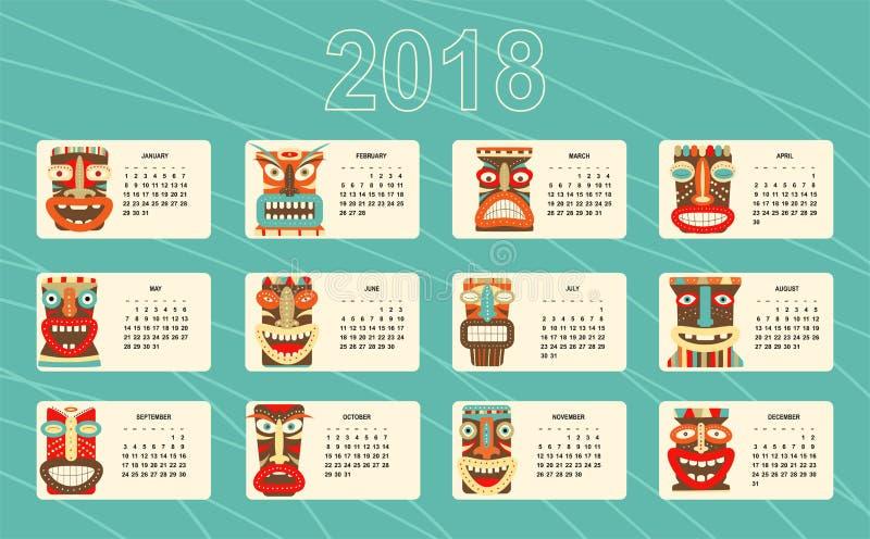 Månatlig kalender 2018 med av den stam- maskeringen för tiki stock illustrationer