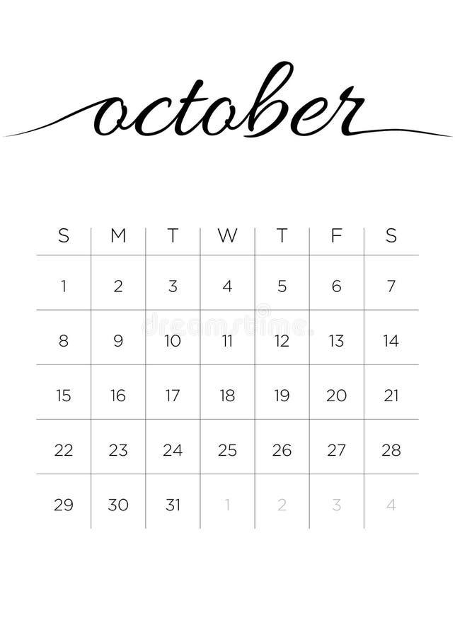 Månatlig kalender Oktober 2017 stock illustrationer