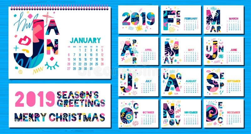 Månatlig kalendermall 2019 vektor illustrationer