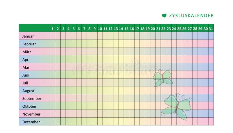 Månatlig menstruationkalender av den menstruations- cirkuleringen med fjärilen royaltyfri illustrationer