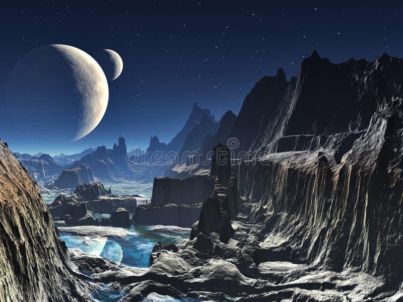 månbelyst dal för främmande kanjon stock illustrationer