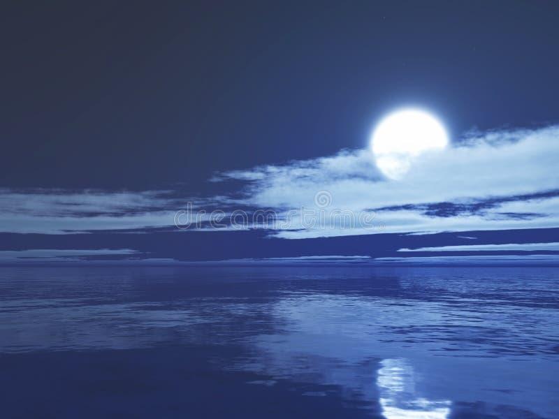 månbelyst hav 3D stock illustrationer