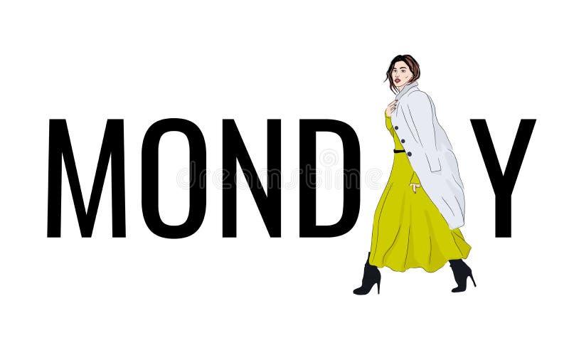 måndag för vektormodell dräkt Klänningen och laget för modeillustrationflicka som i motsats skissar den maxi är härliga Tillfälli stock illustrationer