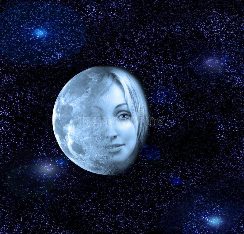 Måneöverföringarna i en framsida av den härliga kvinnan i natthimlen royaltyfri foto