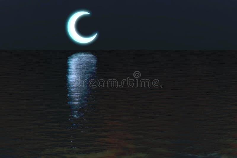 Måne över bakgrund för vattennattplats royaltyfri foto