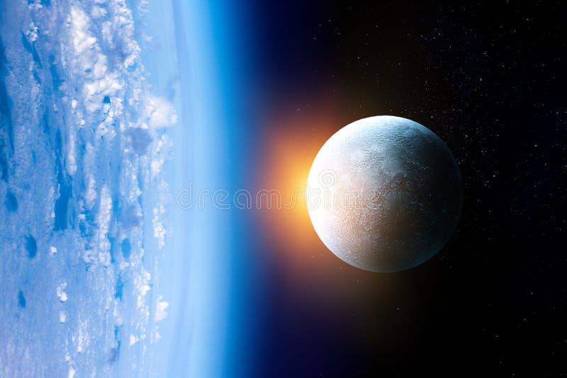 Måne bredvid Erath med solsken och bakgrund för mörkt utrymme royaltyfria bilder