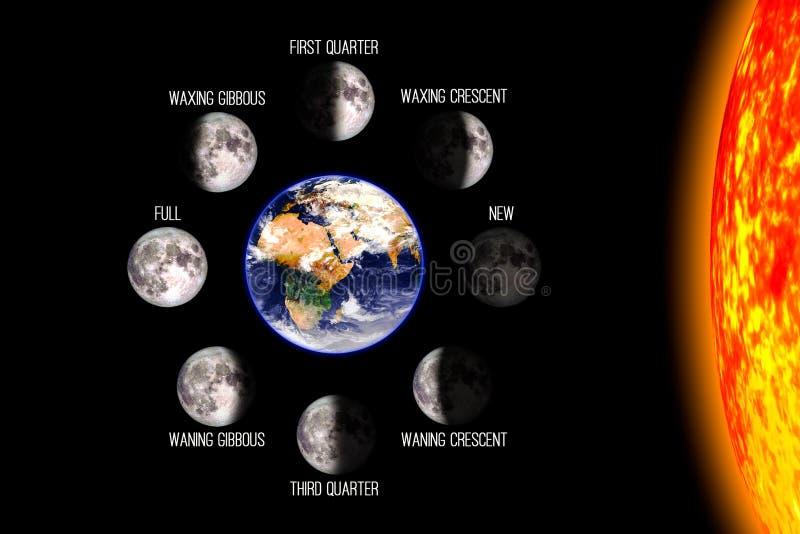 Måne eller mån- fasaffisch royaltyfri illustrationer