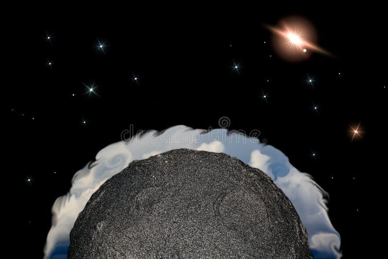 Måne eller planet med jord som atmosfär i utrymme med stjärnor C stock illustrationer