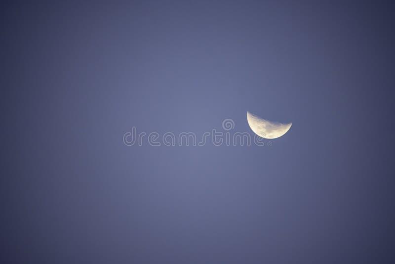 Måne i dagsljus på den ljusa himlen fotografering för bildbyråer