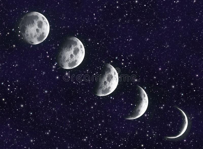 Måne i galaxen stock illustrationer