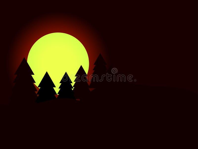 Måne i granträden Pinjeskogmörkernatt vektor vektor illustrationer