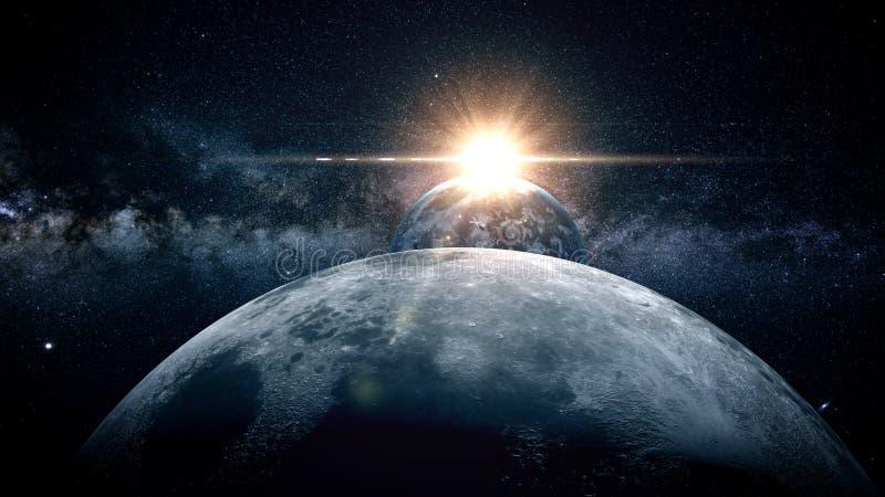 Måne i utrymmet Soluppgång framförande 3d royaltyfri bild