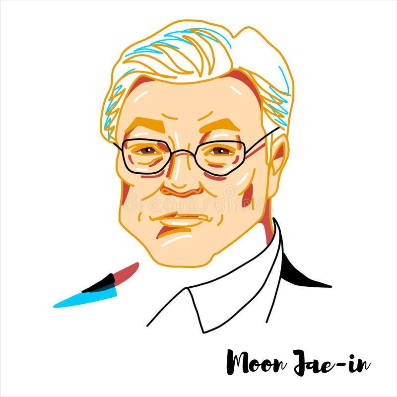 Måne Jae-i ståenden royaltyfri illustrationer