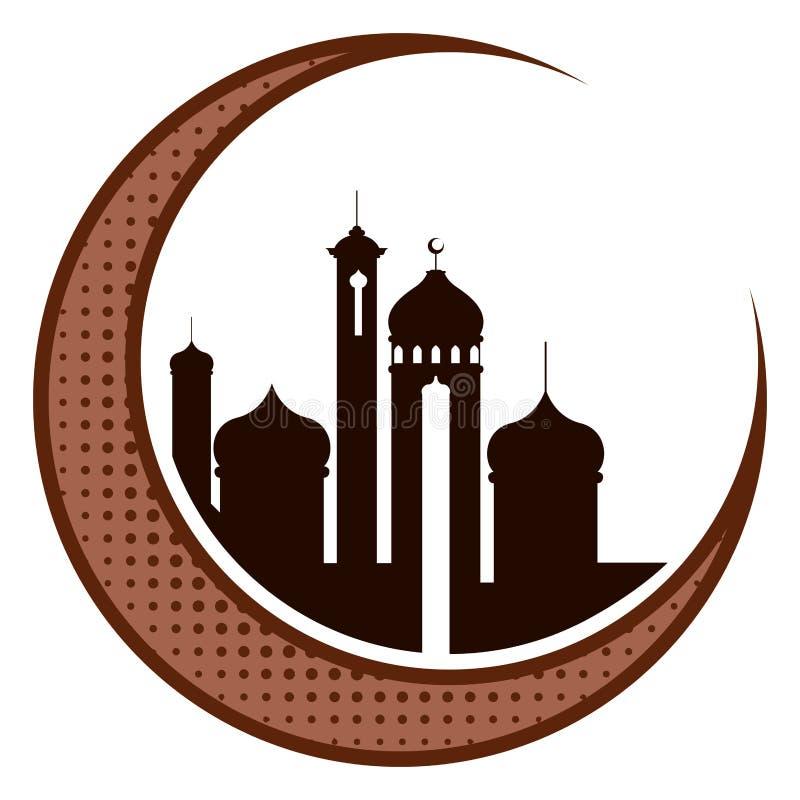 Måne med arabiska tempel ramadan kareem royaltyfri illustrationer