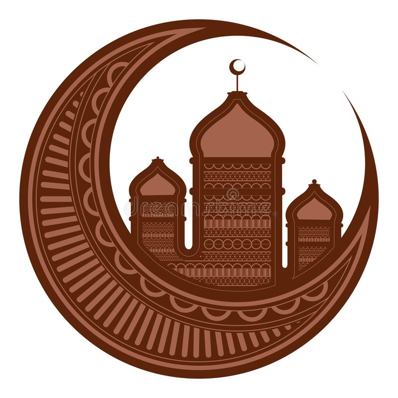 Måne med arabiska tempel ramadan kareem stock illustrationer
