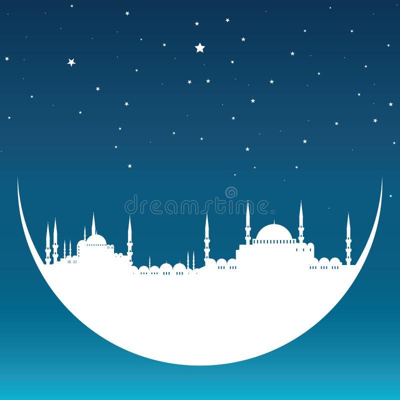 Måne med moskén royaltyfri illustrationer
