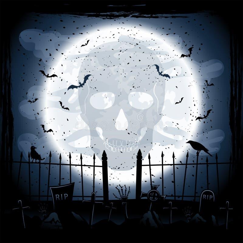 Måne med skallen stock illustrationer