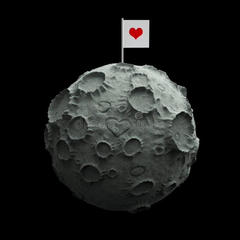 Måne med skrapad yttersida för krater hjärta och den tomma flaggan överst Högkvalitativ tolkning isolerat royaltyfri illustrationer