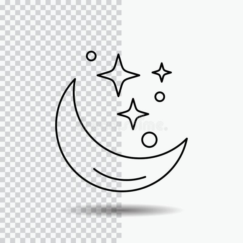 Måne natt, stjärna, väder, utrymmelinje symbol på genomskinlig bakgrund Svart symbolsvektorillustration vektor illustrationer