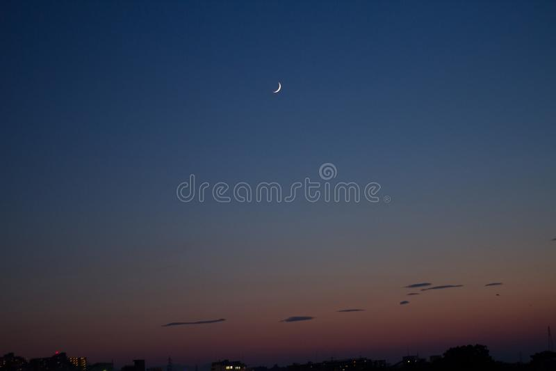 Måne- och himmellandskap royaltyfri foto