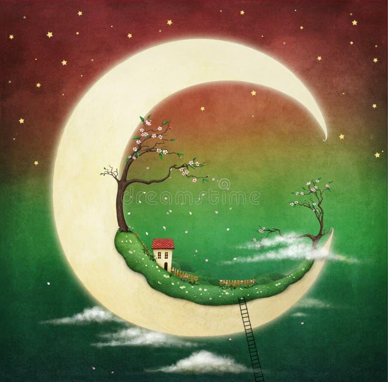 Måne och körsbärsrött träd vektor illustrationer