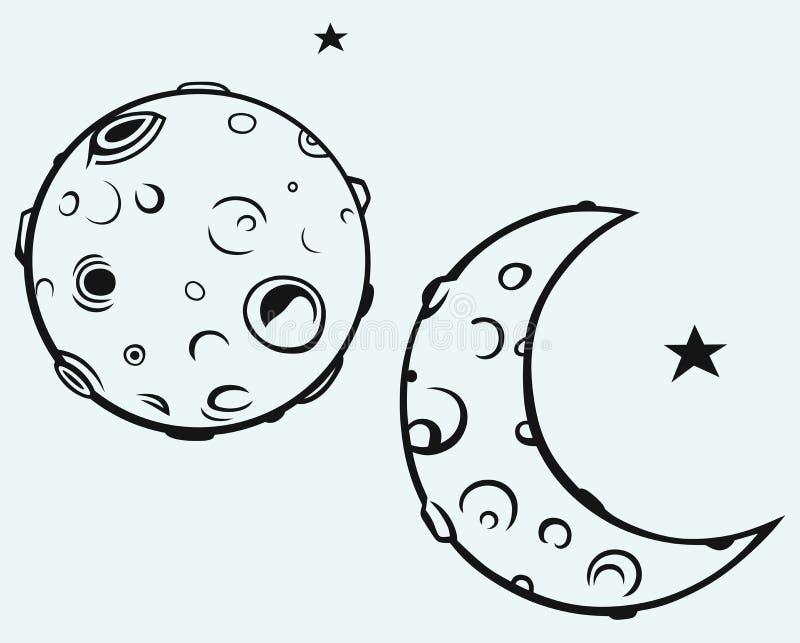 Måne och mån- krater stock illustrationer