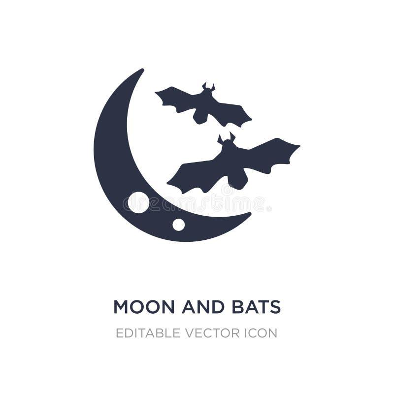 måne- och slagträsymbol på vit bakgrund Enkel beståndsdelillustration från djurbegrepp vektor illustrationer