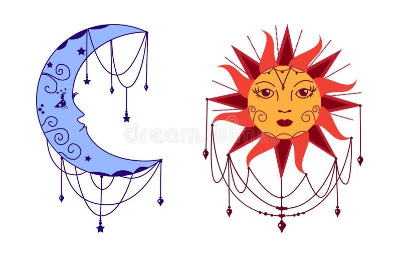 Måne och sol med framsidor Dekorativ vektorillustration vektor illustrationer