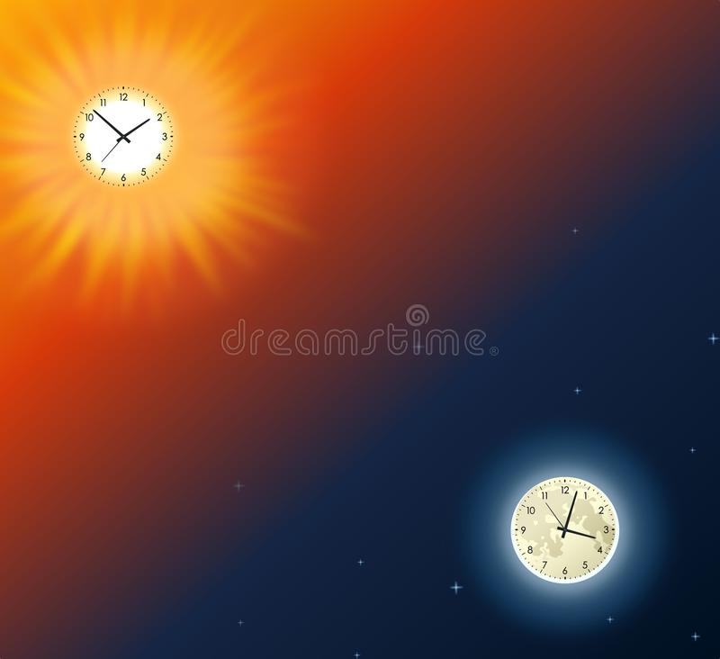 Måne och sol med klockor på lutningbakgrund stock illustrationer
