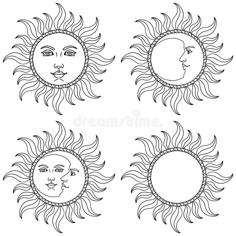 Måne och sol med mänskliga framsidor också vektor för coreldrawillustration stock illustrationer