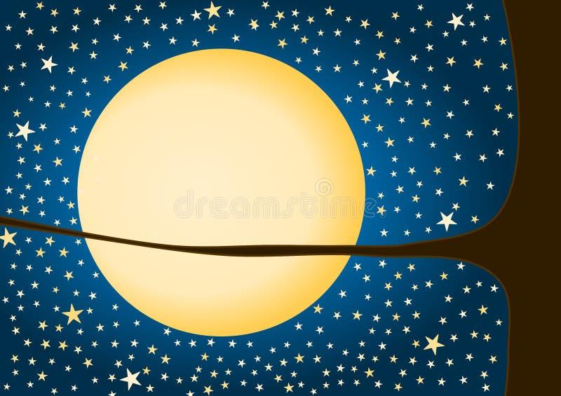 Måne- och stjärnahälsningkort stock illustrationer