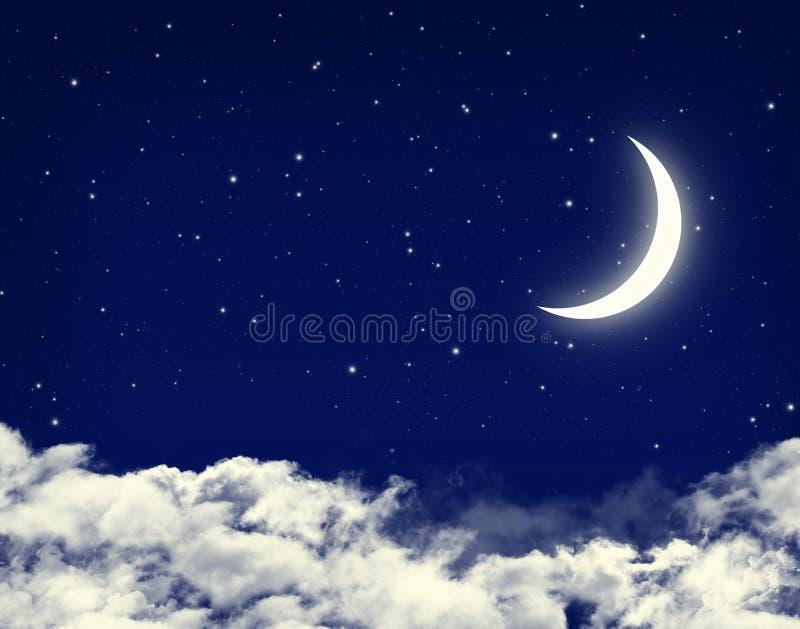 Måne och stjärnor i en blå himmel för molnig natt stock illustrationer