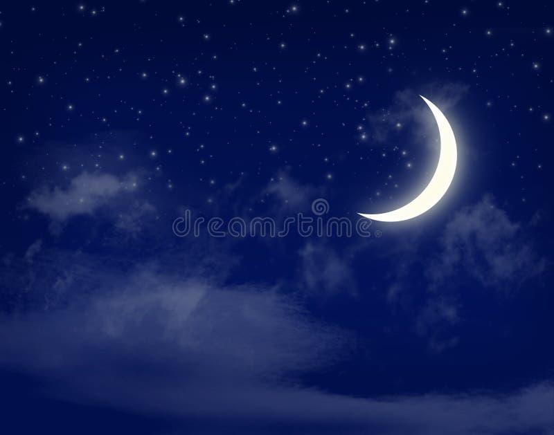 Måne och stjärnor i en blå himmel för molnig natt royaltyfri illustrationer