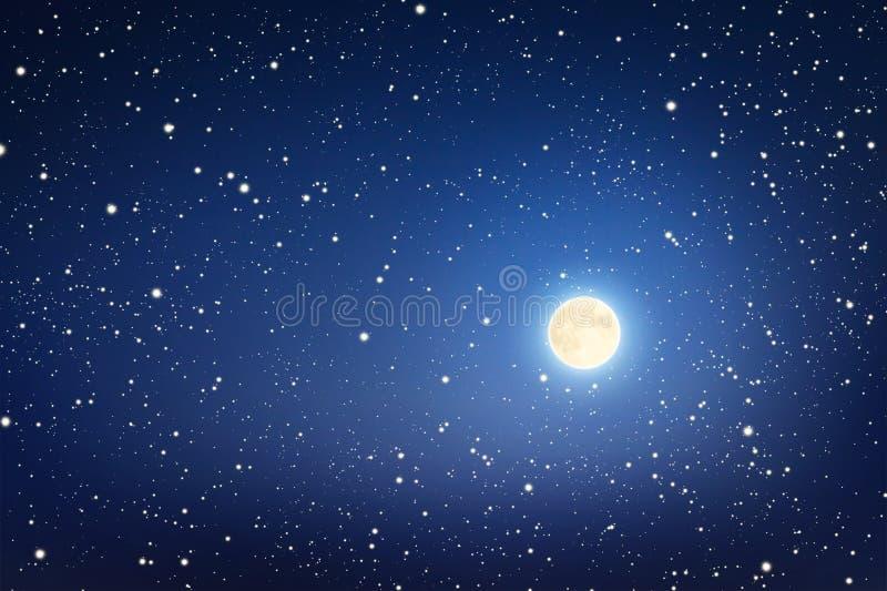 Måne och stjärnor i himlen arkivbild